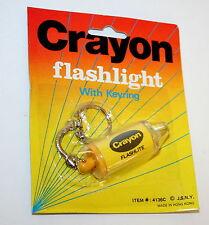 Toy Vending Prize  Crayon Yellow Key Chain Flashlight 1970s NOS New