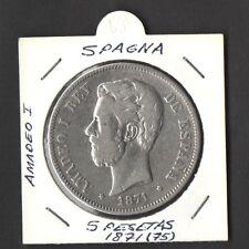 SPAGNA SPAIN 5 PESETAS SILVER ARGENTO AMEDEO I 1875