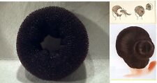 "hair bun donut BLACK french rolls mash chignon warp wig 3 1/2"" inch diameter"