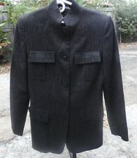 Women's Max Mara Wool Blend Size: 4 Pinstripe Button Down Four Pocket Blazer
