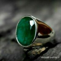 925 Sterling Silver Natural Colombian Emerald Oval Shape Gemstone Handmade Ring