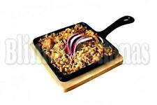 14CM SQUARE CAST IRON SKILLET OVEN TO TABLE FRYING GRILL GRIDDLE PAN & BASE