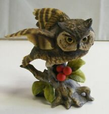 Josef Originals Wide Eyed Owl On Limb With Red Berries And Green Leaves