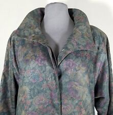 London Fog Trench Rain Coat Sz 6 Petite Gray Floral Tapestry Fully Lined Zip Out