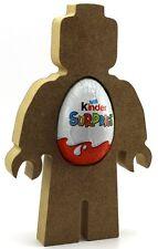 Pack of 10 Lego Man 18mm MDF Kinder Egg Holder, Easter Gift Blank Brick