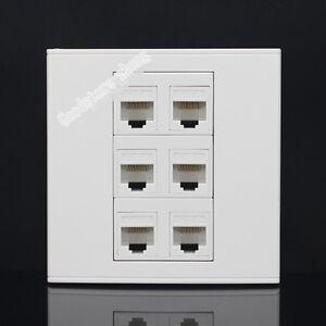 Wall Socket Plate 6 Port  CAT6 LAN Network Ethernet Panel Faceplat RJ45 CAT6