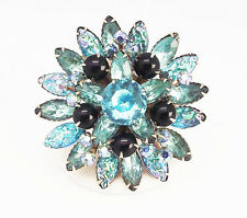 ANTIQUE VINTAGE ELECTRIC BLUE A/B MARQUISE CRYSTAL ROUND GOLD TONE BROOCH PIN