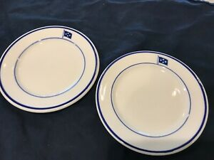 vintage shenango restaurant china bread and butter plates aqua and white set of two
