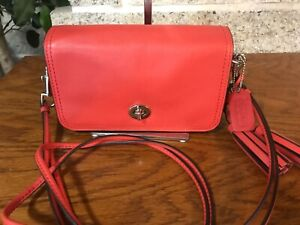 COACH PENNY 19914 LEGACY RED LEATHER RARE SHOULDER HANDBAG PURSE CROSSBODY BAG