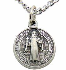 Saint Benedict Medal 1/2 Inch Metal Pendant with 24 Inch Stainless Steel Chain