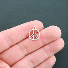 BULK 60 Peace Sign Charms Antique Silver Tone 2 Sided - SC4297