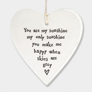 East of India White Ceramic You are my Sunshine Heart Gift 9x9.5cm