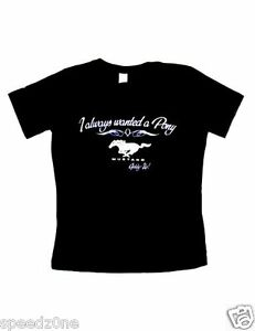 FORD MUSTANG I ALWAYS WANTED A PONY BLACK  LADIES V NECK  SHIRT LICENSED BY FORD