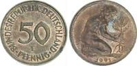 Deutschland 50 Pfennig 1991 F auf kupferplat. magnet. 2 Pf. Ronde 2,9g vz