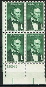jimace 29  US #1113 Lincoln Sesq.  Issue of 1958, Plate Block-4 MNH  .01Cent Grn