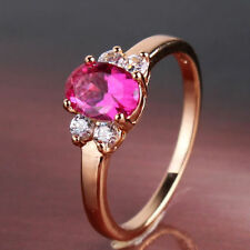 Ladies Stunning 24k Gold Filled Ruby Ring Size 7.5