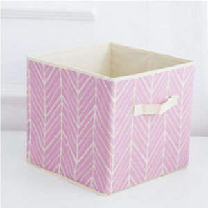 2x Foldable Storage Collapsible Canvas Box Clothes Organizer Fabric Cube Basket