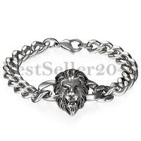 Jewelry Kingdom 1 Silver Gold Lion Head Stainless Steel Figaro Rolo Chain Mens Bangle Bracelet 8.66