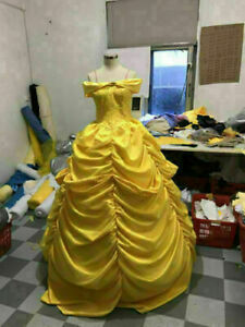 Belle Adult Costume Beauty and the Beast Princess Dress yellow Ball Gown