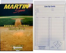 Martin Sports Baseball / Softball 25 Game Line-Up Cards, 4-Part Carbon Copy