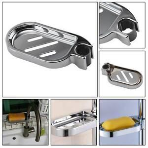 1pcs Shower Rail Slide Soap Plate Dish Holder Adjustable Smooth Metal Bathroom
