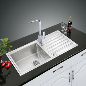 Highest Quality  304 1.0 Reversible HANDMADE Stainless Steel Sink +SQ KitchenTap