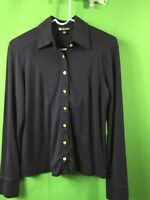 7835) BROOKS BROTHERS small navy blue button down shirt cotton knit top S