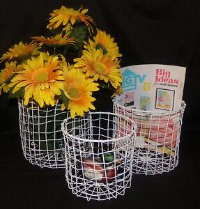 White Baskets Storage Bins 3pc Set Round Wire Nesting Baskets Home Decor New