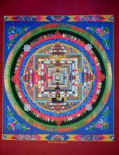 Tibetan Thangka Poster for Dharma Practice KALACHAKRA MANDALA (Blue)