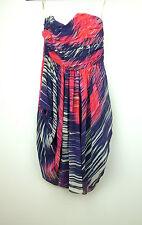 KAREN MILLEN Corset dress Sz 8 Blue red grey stripe print Silk Party Race Day