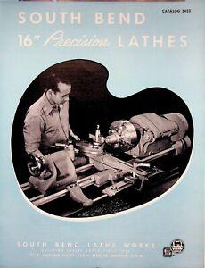 "Vintage 1953 Original South Bend Lathe Catalog #5423 Precision 16"" Lathe"