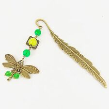 DRAGONFLY BOOKMARK bronze feather green mother nature vintage rustic insect