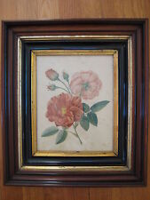 antique Pierre Redoute Les Roses PRINT red pink rose flower vtg wood gold frame