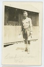 RPPC Soldier at Work in CAMP ROBINSON WI Vintage Military Real Photo Postcard