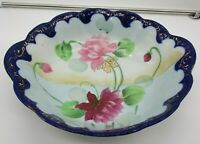 """Imperial Nippon Hand Painted Floral 12"""" Bowl Blue and Gold Trim Vintage"""