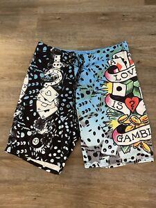 "Ed Hardy ""Love is a Gamble"" Board Swim Shorts Trunks Size 36 Back Pocket"