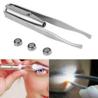 Metal Steel Eyebrow Eyelash Tweezers With Led Light Hair Removal Tweezer Make Up
