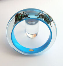 Beautiful blue lucite bracelet with real insects by Kolos Designs