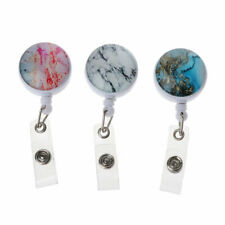 3Pcs Marble Starry Nurse Badge Holder Retractable Badge Reel Clip ID Protection