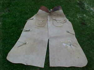 Vintage WESTERN Cowboy WHITE LEATHER Working Mans LEG CHAPS
