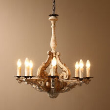 Retro Distressed Carved Wood Candelabra Chandelier 8-Light Ceiling Light Fixture