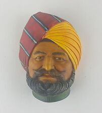 VINTAGE COLORED CHALK WARE HANGING BUST OF ARABIAN SHIEK MADE IN ENGLAND