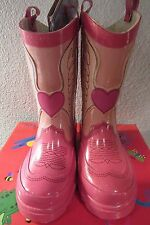 NEW WESTERN CHIEF GIRLS PINK RUBBER COWGIRL/COWBOY HEART RAIN BOOTS ~SIZE 7