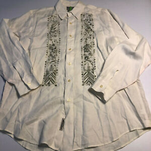LUCKY BRAND Mens White Embroidered LS White Button-Down Shirt 100% Linen