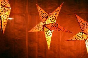 Handmade Printed Paper 23x18 Cm Star Light Shades Pack Of 4 For Home Decoration