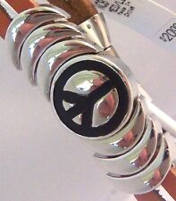 Epic Spirit Bracelets Wheeler Peace Sign Leather & Pewter Clasp Magnetic wcb 764
