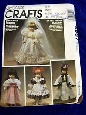 VINTAGE MCCALLS 5907 VICTORIAN DOLL CLOTHES SEWING PATTERN WEDDING DRESS