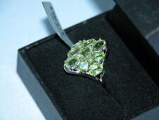 Lote 38 impresionantes Verde Peridot Anillo de plata esterlina sólida Tamaño J 1/2