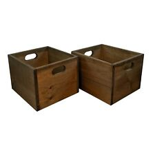 LP Record Crates (x2) in Solid Pine - sold as a pair