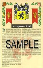 COSGROVE Armorial Name History - Coat of Arms - Family Crest GIFT! 11x17